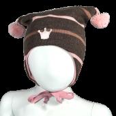 Kivat - Knyttelue striper med krone, 395 brun/rosa