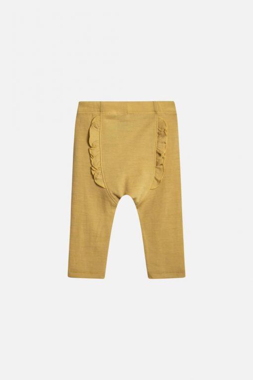 Hust&Claire - Leggings Lotta med rusjer bak i merionoull, banana gul