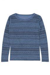 Hust&Claire - Trøye Abba med mønster ull/bambus, blue fog melange - aw18