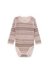 Hust&Claire - Body Baloo med mønster, ull/bambus - rosa aw18