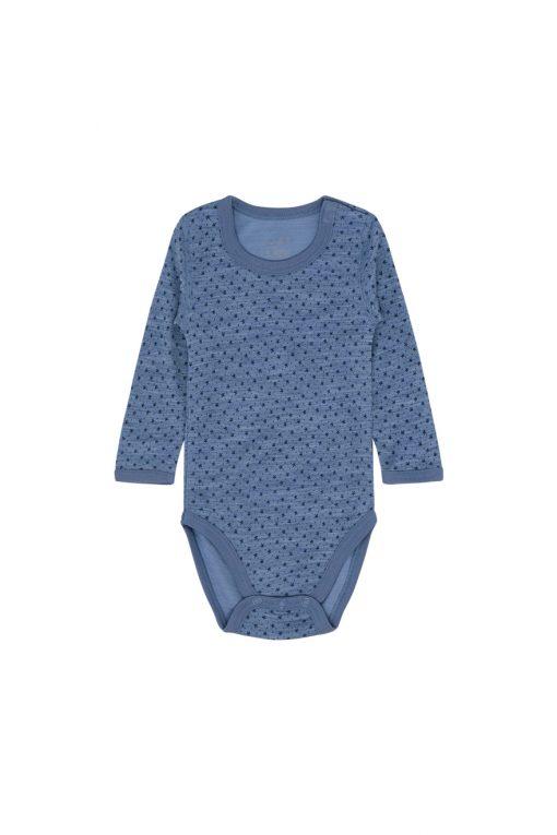 Hust&Claire - Body Baloo med prikker,  ull/bambus - blue fog melange aw18