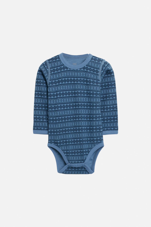 Hust and Claire - Body Baloo med mønster ull/bambus, blue glass, UKE 37