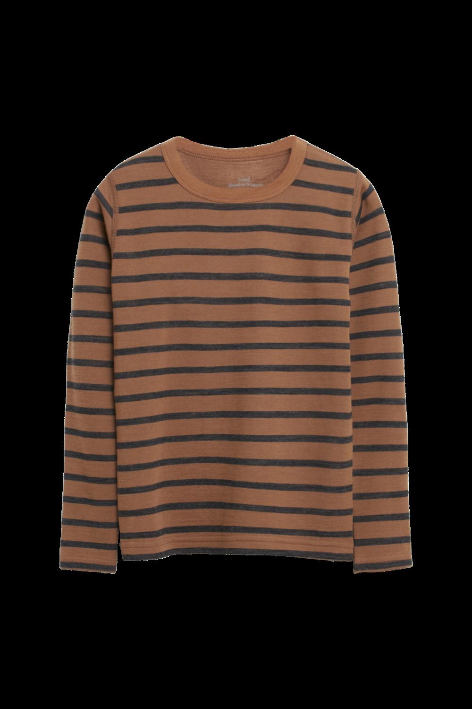 Hust and Claire - Trøye Abba med striper ull/bambus, cognac