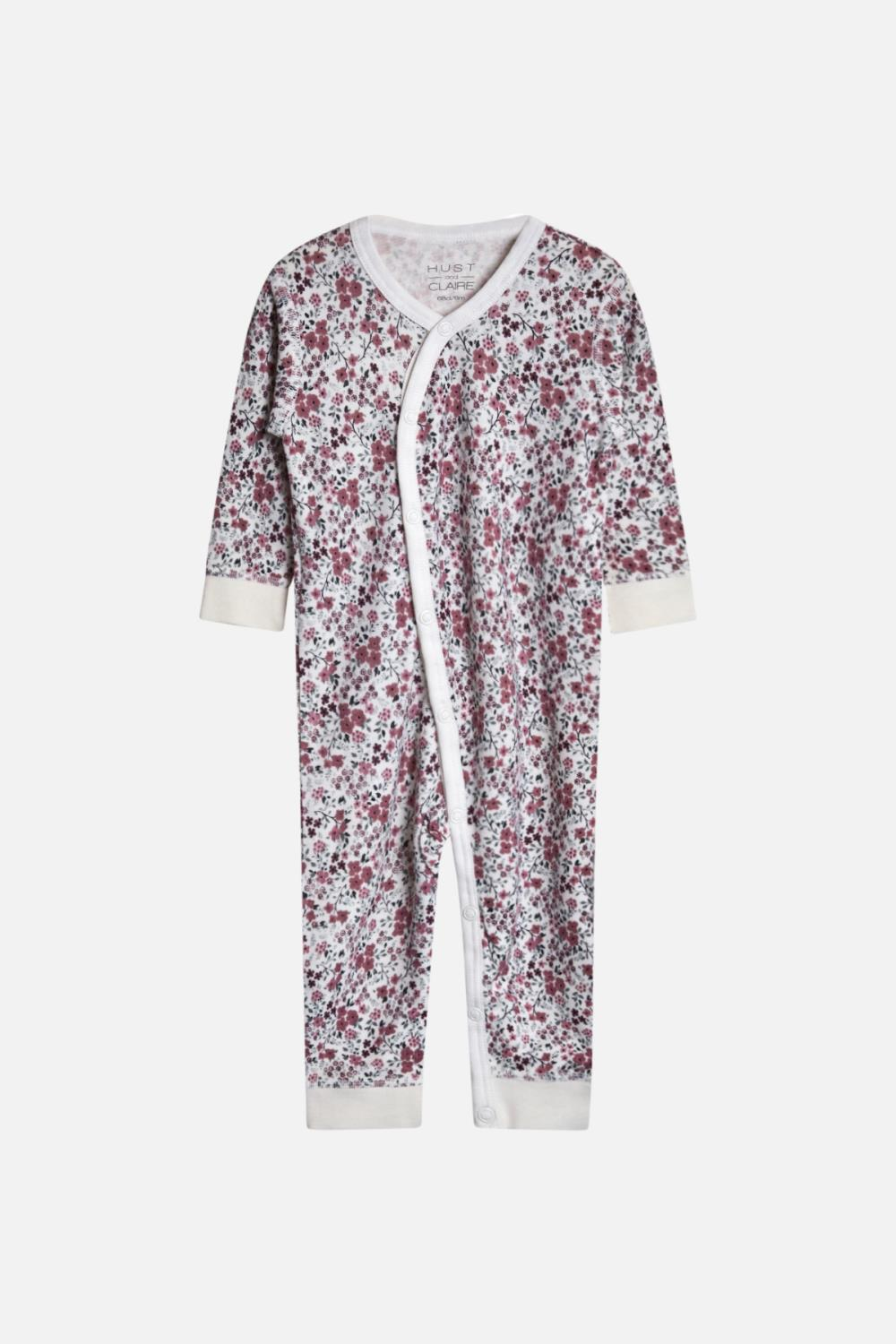 Hust and Claire - Heldress Mala med blomster i ull/bambus, offwhite