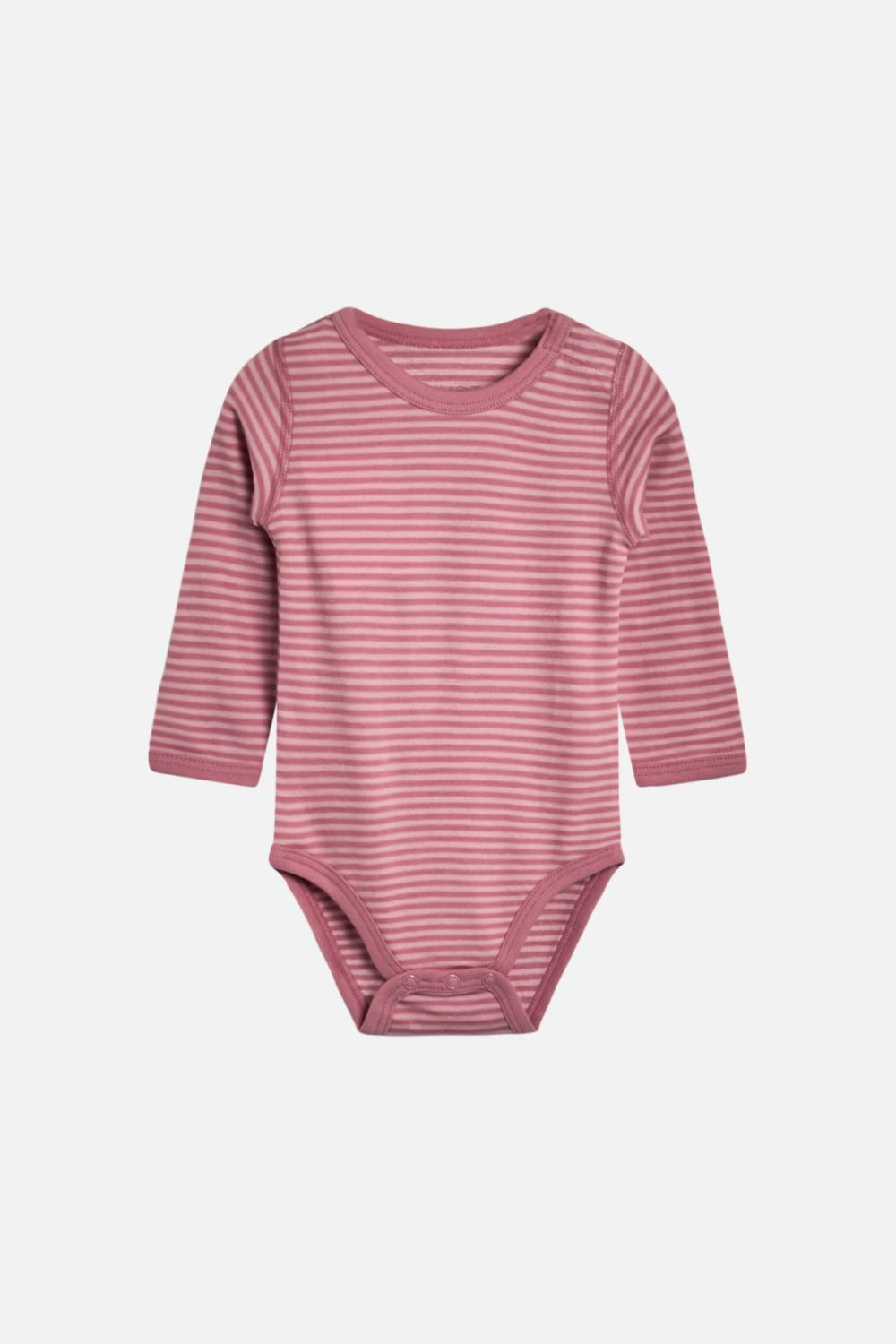 Hust and Claire - Body Baloo med striper i ull/bambus, dusty rose