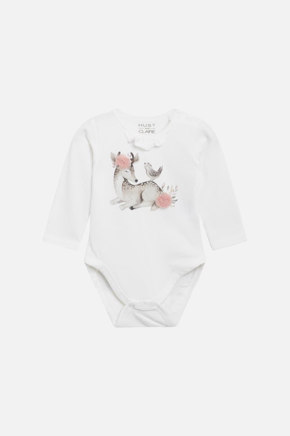 Hust and Claire - Body Bette med rådyrprint, ivory