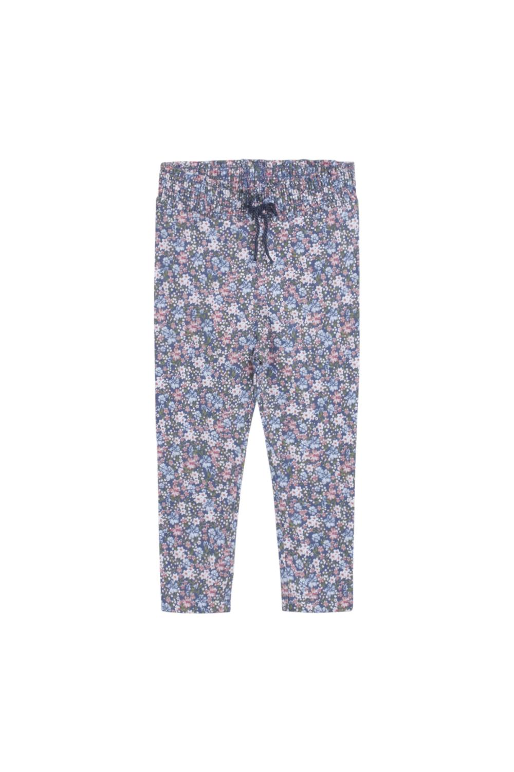 Hust and Claire  - Leggings Leandra med blomster, peony blue