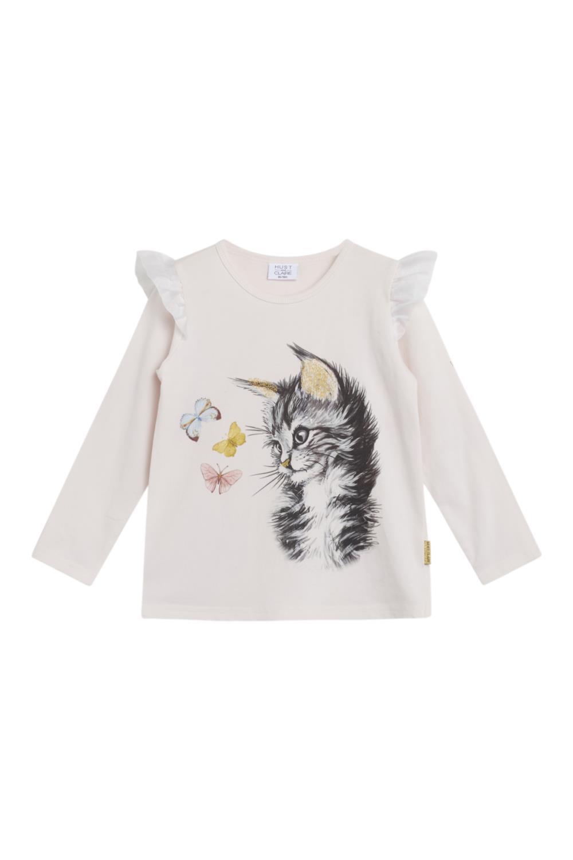 Hust and Claire - Genser Alma  med katt, skin chalk