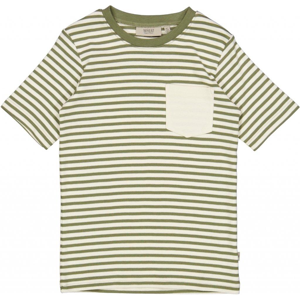 Wheat - T-skjorte Frode med striper, sage