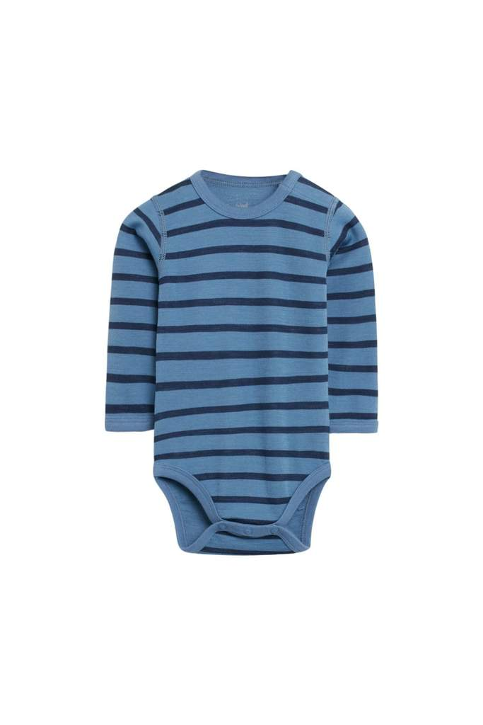 Hust and Claire - AW 20 Body Baloo med striper ull/bambus, blue glass