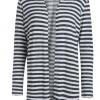 Pieces PCMarianne lysgrå/offwhite stripet cardigan