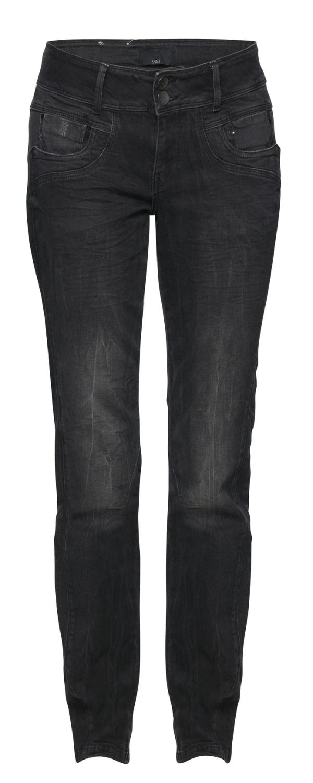 Pulz Stacia curved skinny svart jeans med høyt liv og smale ben