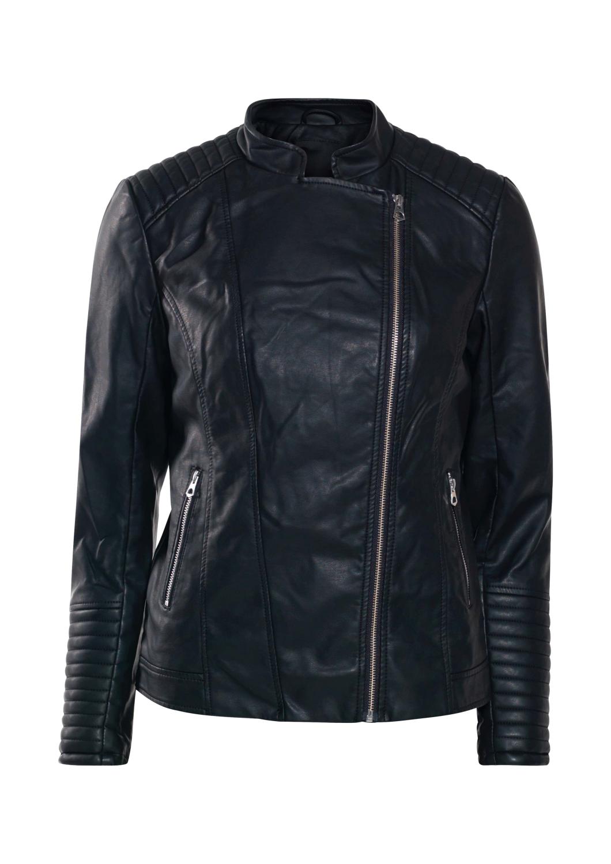 SoyaConsept Raben bikerjakke i sort med glidlås og detaljer