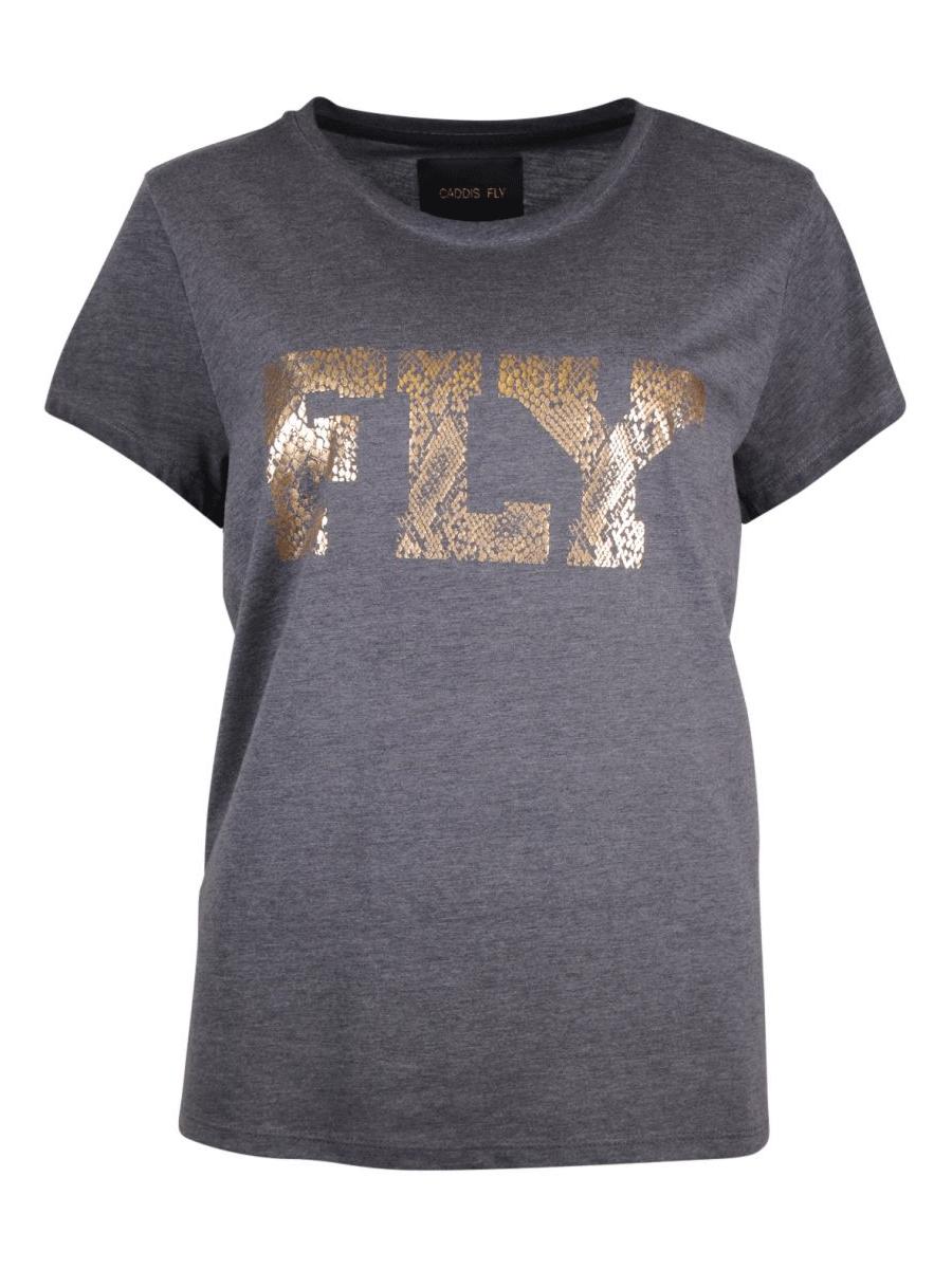 Caddis Fly Fly mørk grå bomull/polyester T-skjorte med gull trykk