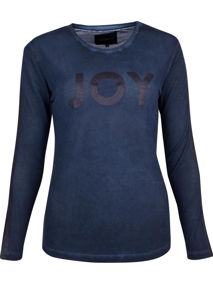 Caddis Fly Joy T-skjorte mørkblå lang ermet med glitter trykk