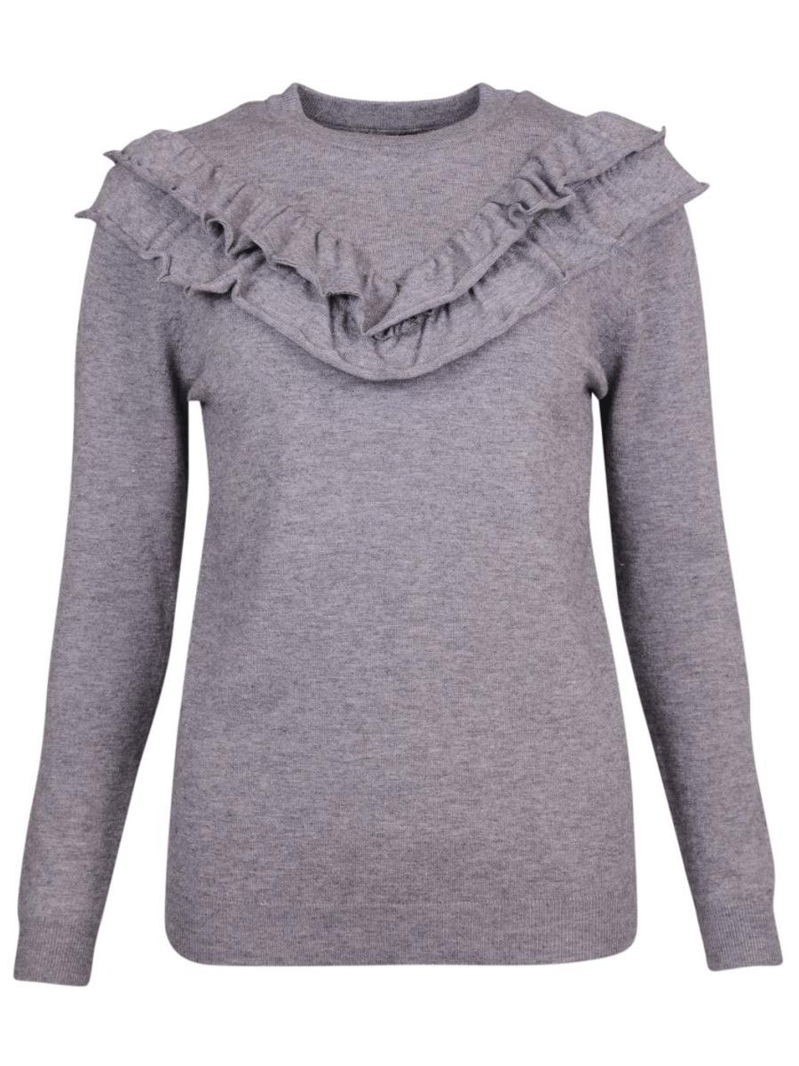 Caddis Fly Prime lysgrå glattstrikket genser med rysjer