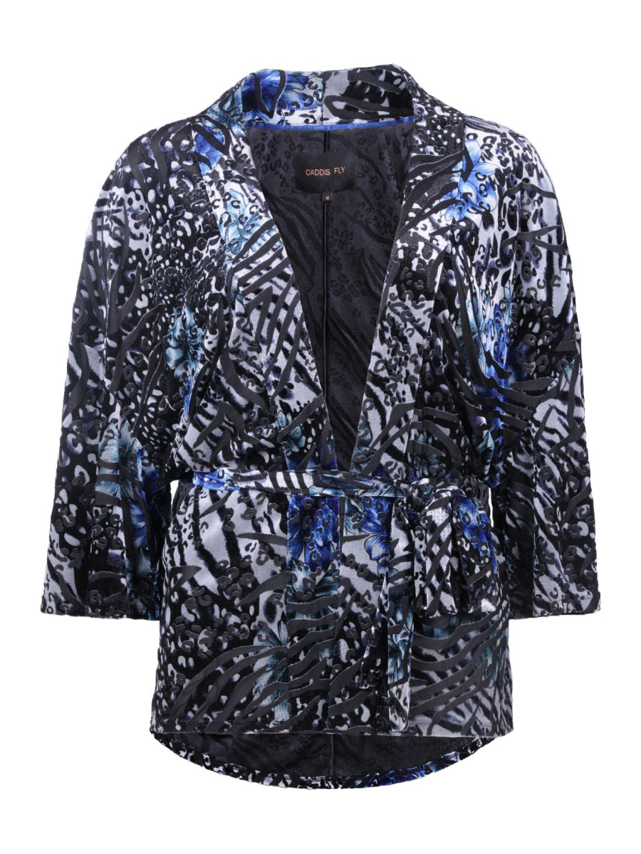 Caddis Fly Darling Kinomo med chenille mønster i blått/sort