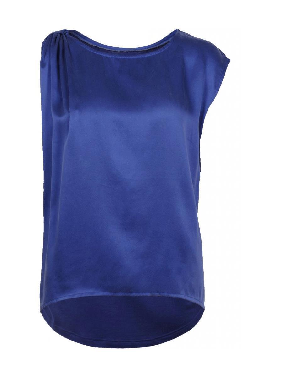 Caddis Fly kongeblå silketopp med draperig på skulder