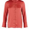 Saint Tropez orange langermet silke bluse med rysjer i rygg