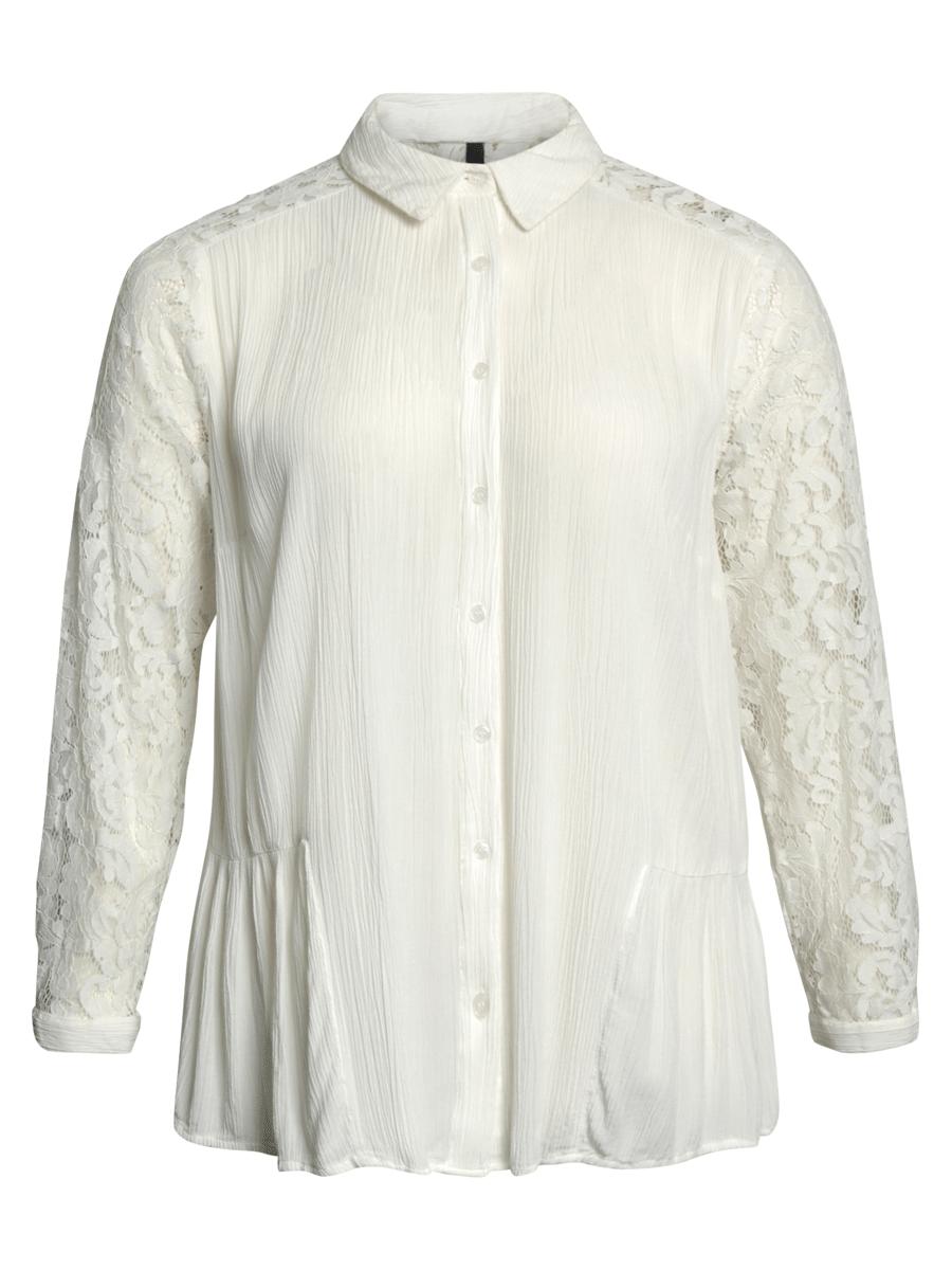 Ciso offwhite bluse med blonde detaljer, 100% viskose