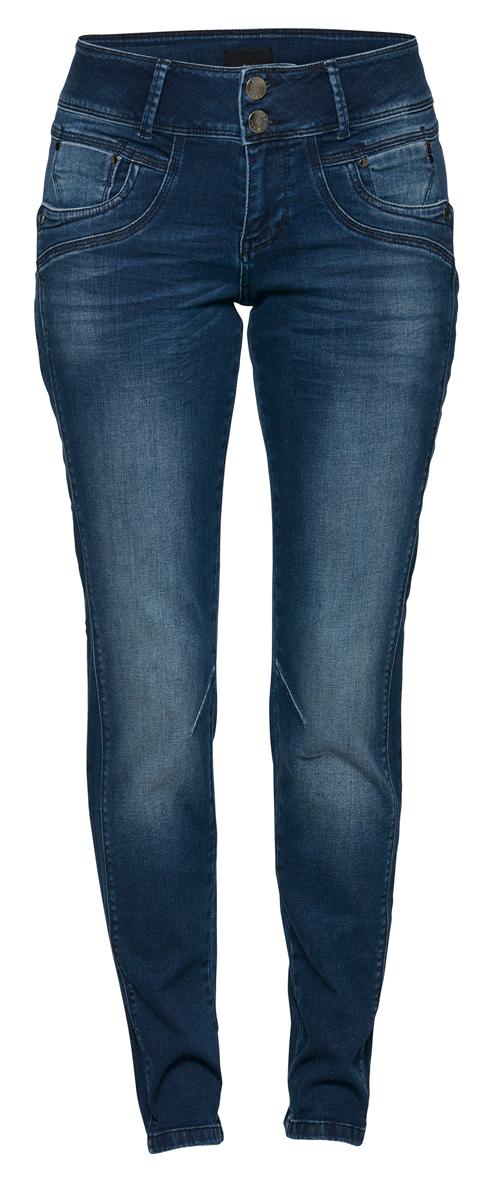 Pulz Stacia curved skinny, mellomblå dongeri, høyt liv, buede hofter, smale ben