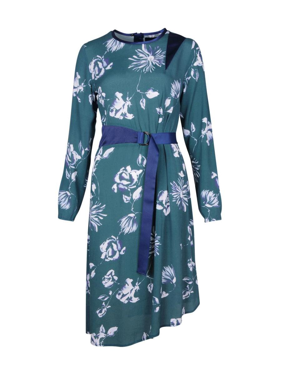 Caddis Fly Promise dress, grønn mønstret kjole, langermet og belte