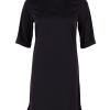 "Saint Tropez marineblå ""kina inspirert"" kjole, kort erme"