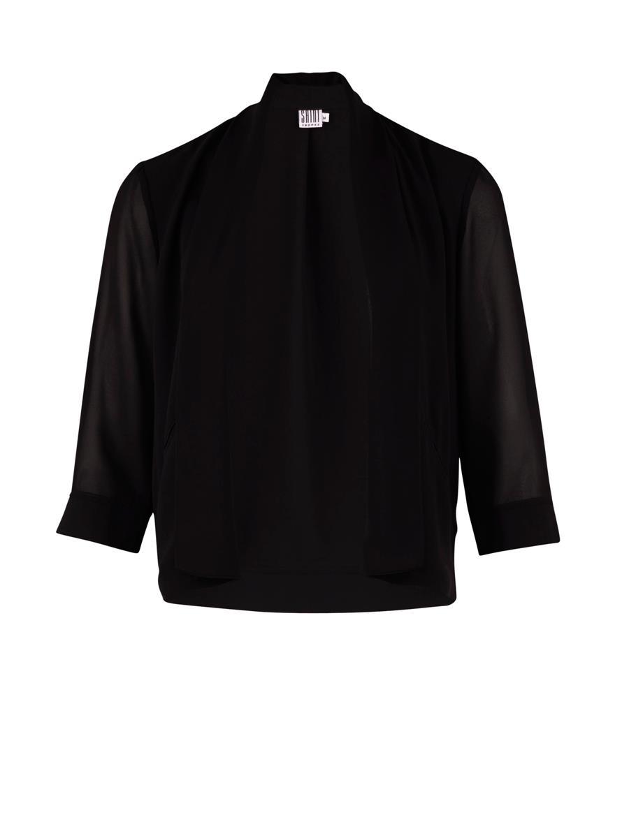 Saint Tropez sort chiffon blazer, kort selskapsjakke, 3/4-erme