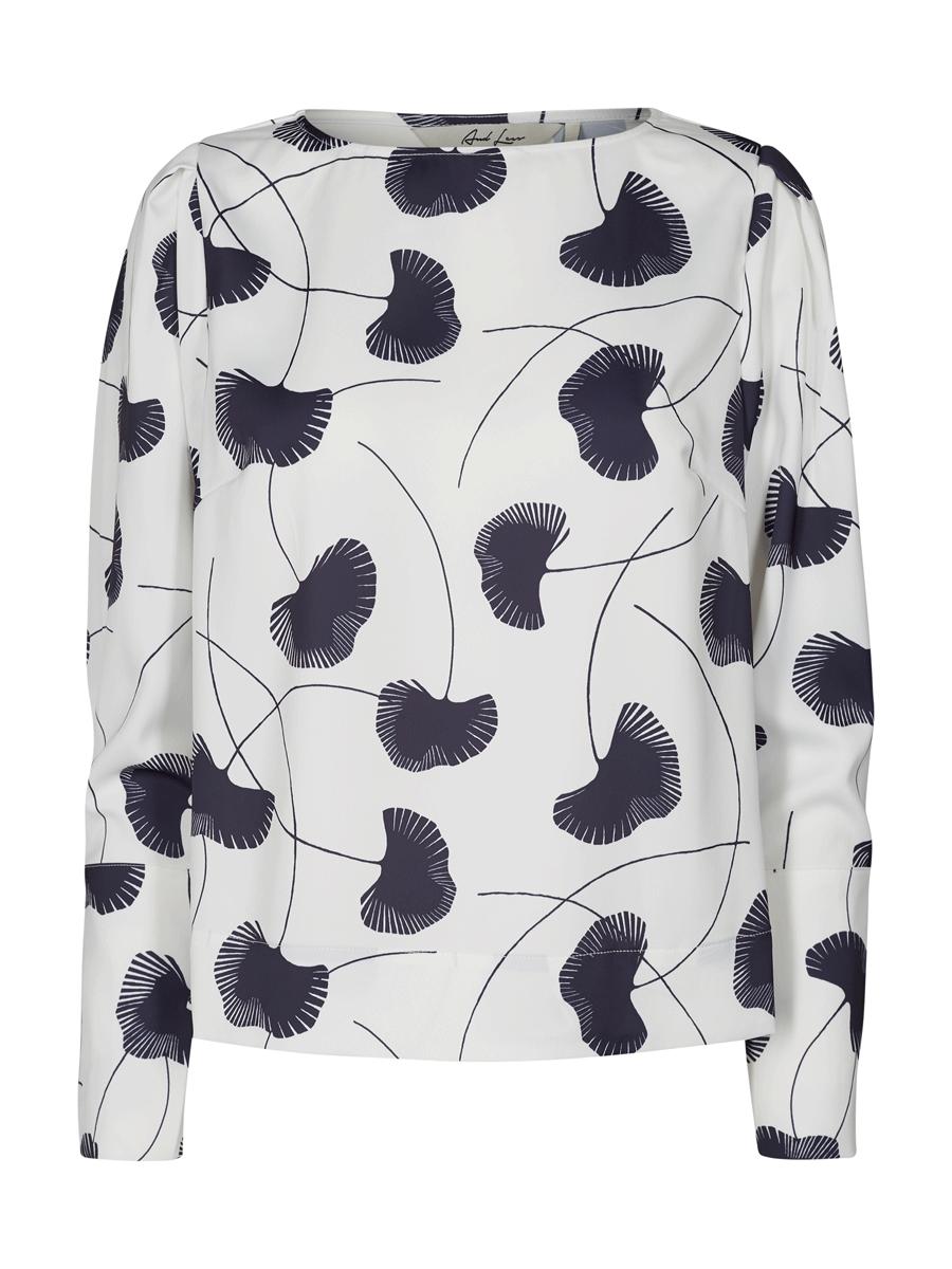 And Less Nessa Blouse offwhite/marineblå langermet mønstret bluse