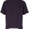 And Less Agnete blouse, marineblå topp, liten krage og kort erme