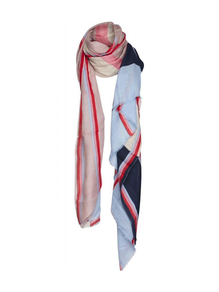 Minus Hansa scarf, avlangt, rosa/lysblå/rød