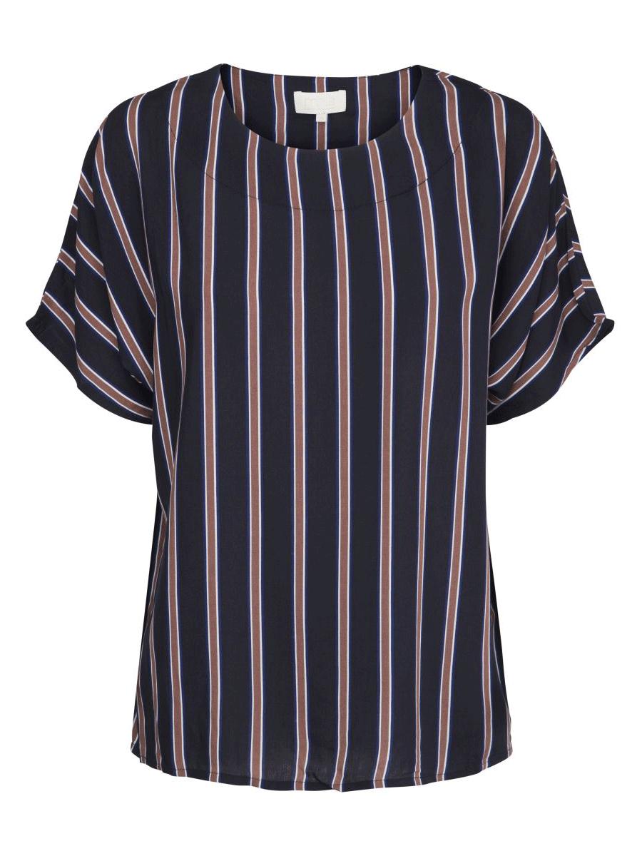Minus Ebba blouse, stripet marineblå