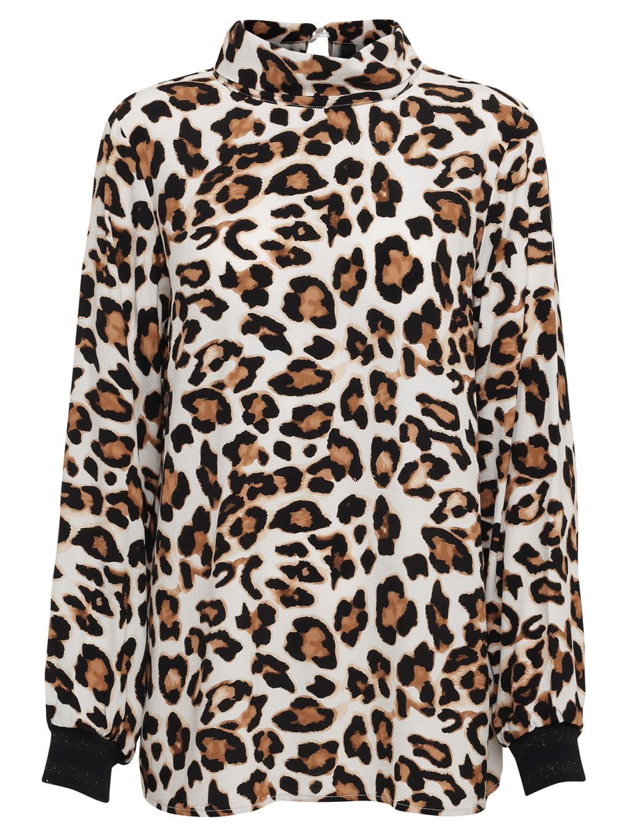 Soyaconcept Sc-Marrit 4, animal print bluse, offwhite/brun/sort