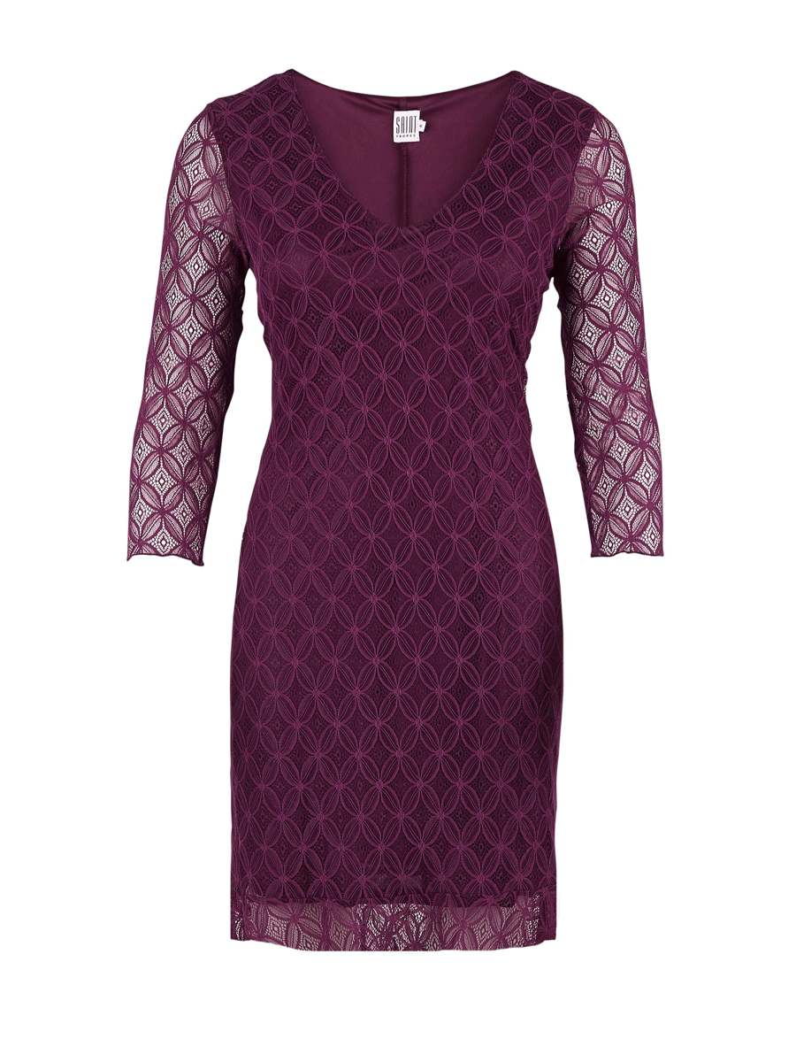 Saint Tropez Lace dress w/ 3/4 sleeve, blonde kjole, lilla