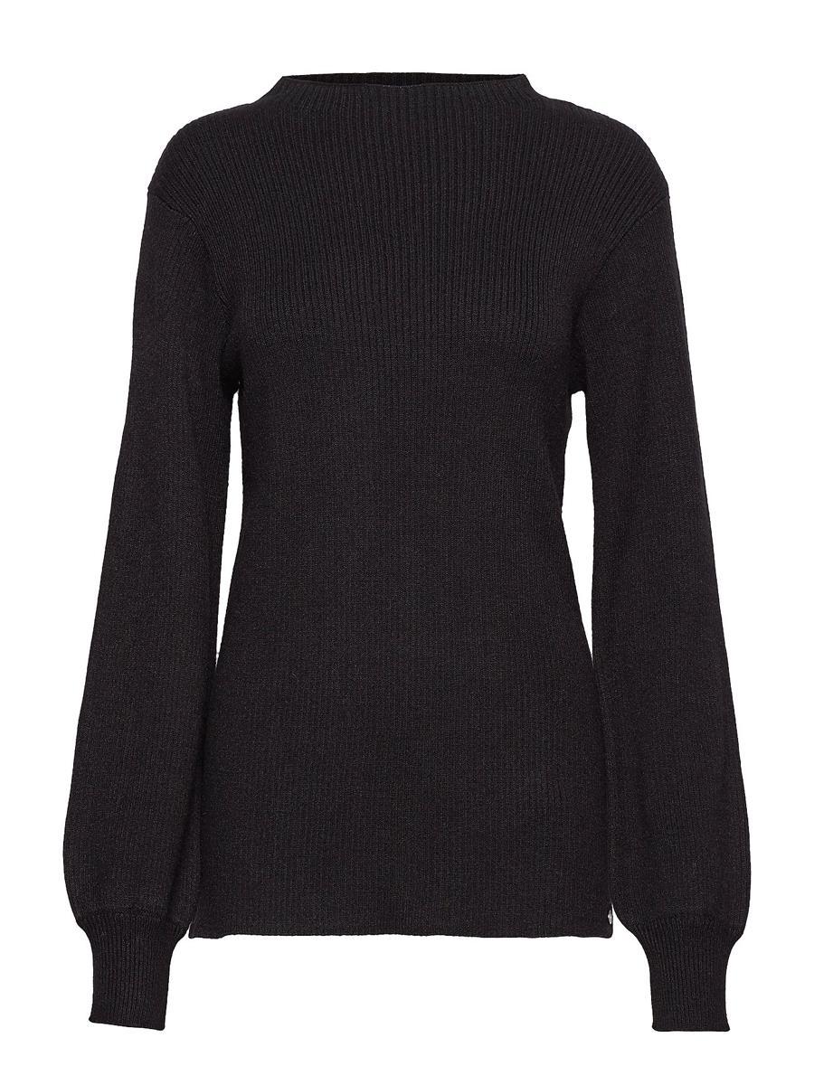 Pulz Crista l/s pullover, ribbestrikket sort