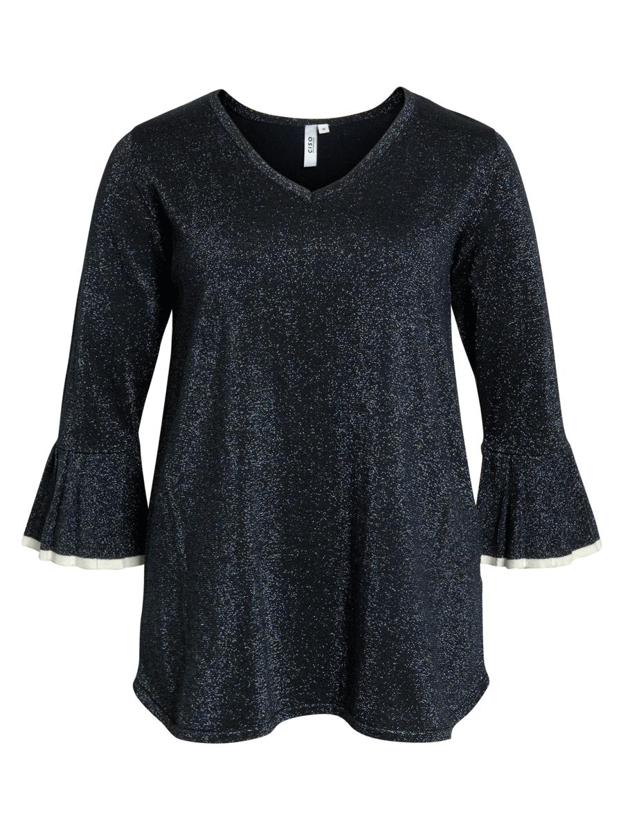 Ciso Knit Tunic, glitter topp, mørk blå