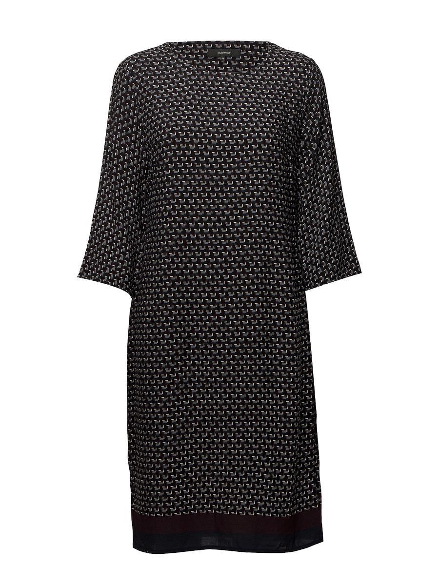 Soyaconcept Sc-Nida 3, mønstret kjole, marineblå/burgunder