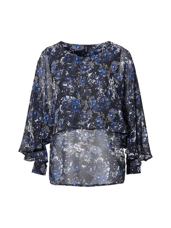 Soyaconcept Sc-Paja 3, mønstret bluse, sort/blå
