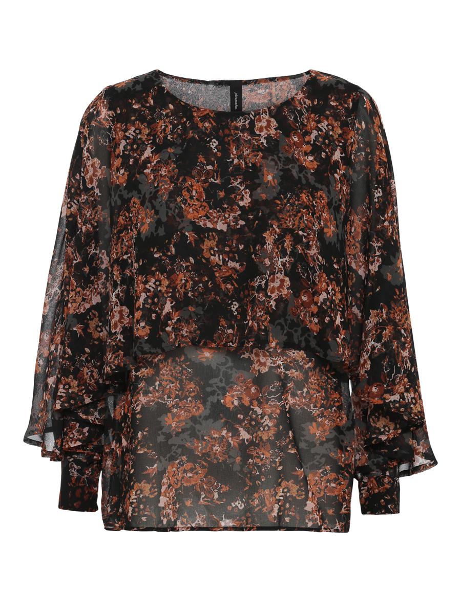 Soyaconcept  Sc-Paja 3, mønstret bluse, sort/oransje