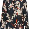 Pulz Gracia L/S Shirt, mønstret bluse, marineblå/oransje
