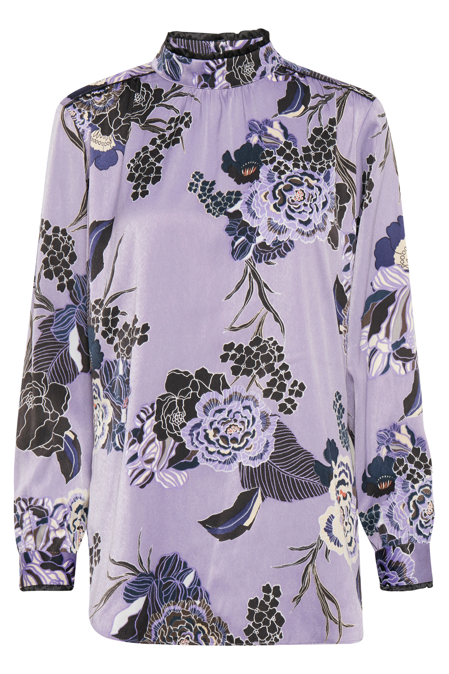 Pulz Addi L/S Blouse, blomstret bluse, lilla