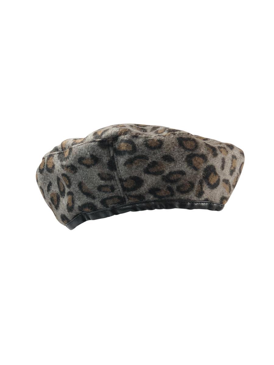 Black Colour Parisienne barret hat, leo grey