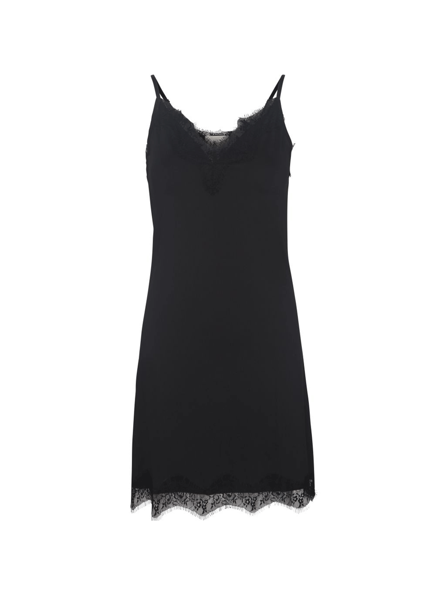Minus Asa Slipover Dress, underkjole m/blondekant, sort