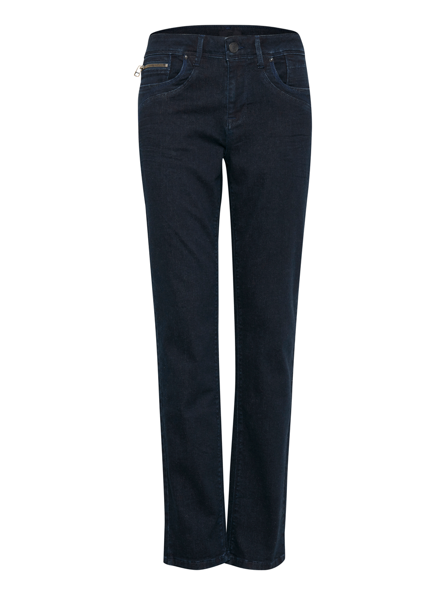 Pulz Karolina Highwaist straight, denimblå