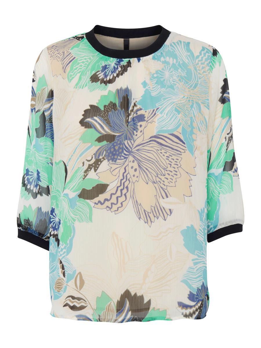 Pulz PzCherry 1/2 sl. blouse, champagne/mønstret