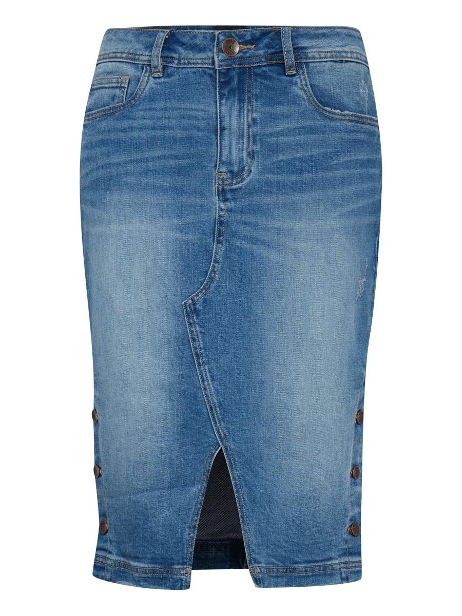 Pulz PZJenna skirt, medium blue denim