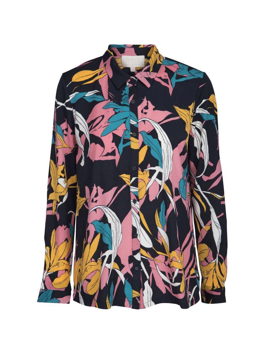 Minus Caitlyn shirt, black iris twisted flower print
