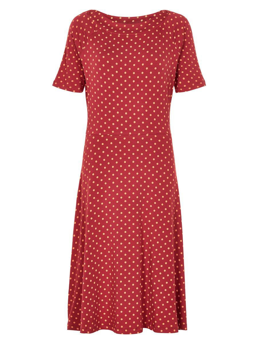 Nümph Kora knit dress, rød jersy kjole med prikker