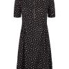 Nümph Beah dress, sort stretch kjole med hvite prikker