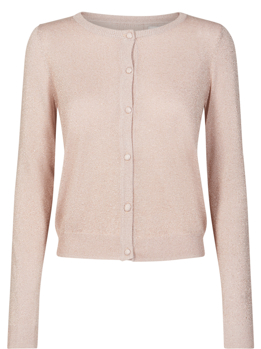 Nümph New Steffine Cardigan, rosa/gull-melert kort jakke